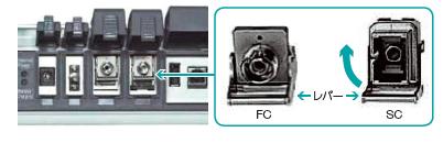 レバー上部を押しラッチを外し、コネクタを持ち上げ、アダプタを外す。